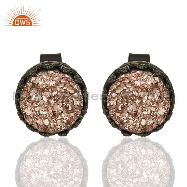 Black Sterling Silver Copper Druzy Gemstone Stud Earrings Manufacturer