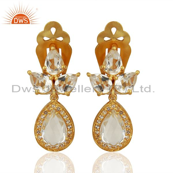 Yellow Gold Plated Silver White Topaz Crystal Quartz Gemstone Earrings