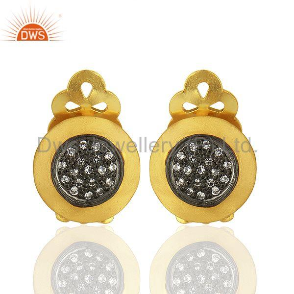 Gold Plated Sterling Silver White Zircon Gemstone Stud Earring Jewelry