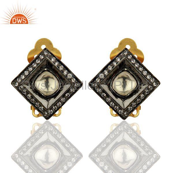 Crystal Quartz and CZ Gold Plated Silver Stud Clip Earrings Supplier