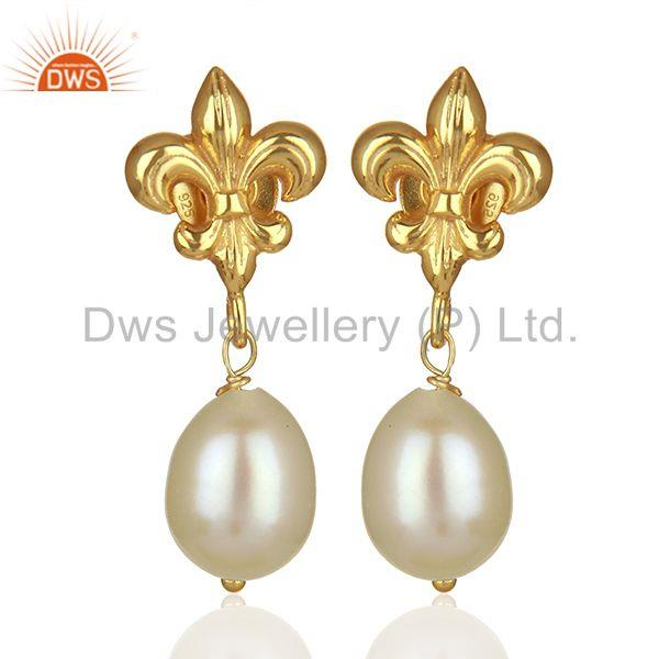 Royal Sign 925 Silver Gold Plated Pearl Gemstone Drop Earrings Jewelry