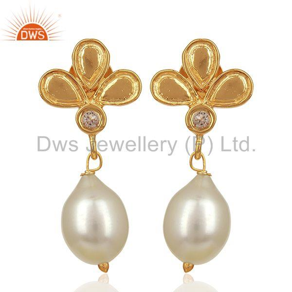 Leaf Design 925 Silver Gold Plated Pearl Earrings Jewelry Manufacturer