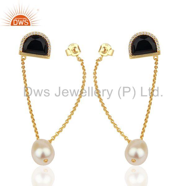 Black Onyx and White Pearl Gold Plated Silver Chain Earrings Jewelry