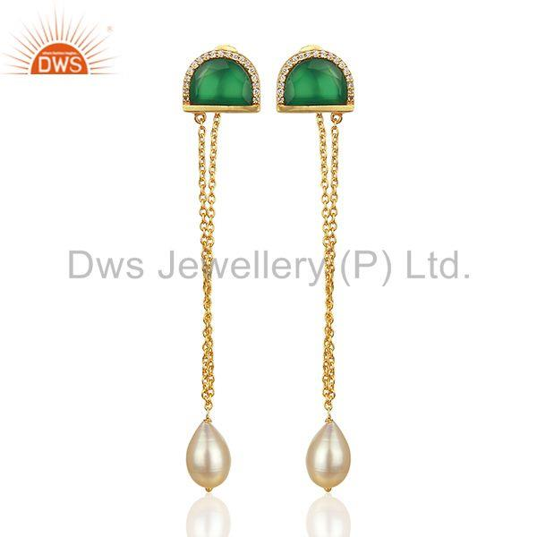 Onyx Gemstone with Cz Gold Plated 925 Silver Chain Earrings Wholesale