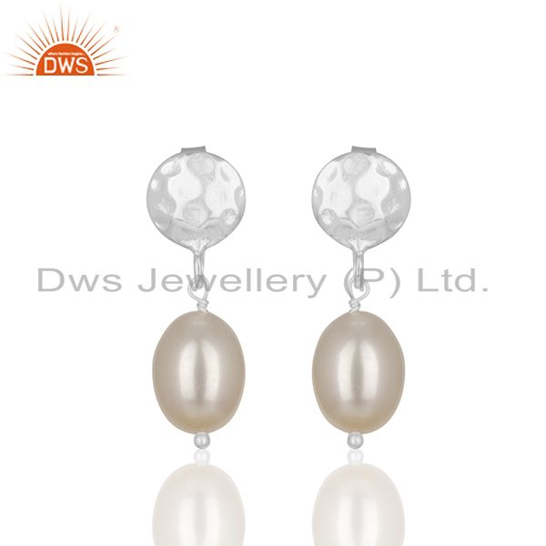 Natural Pearl Gemstone Handmade 925 Silver Drop Earrings Manufacturer from India