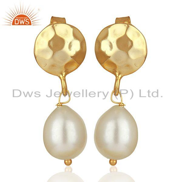 Handmade 925 Silver Gold Plated Pearl Drop Earrings Wholesale