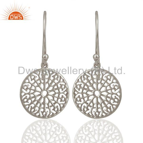Gardens Inspired 925 Sterling Silver White Rhodium Plated Round Earring