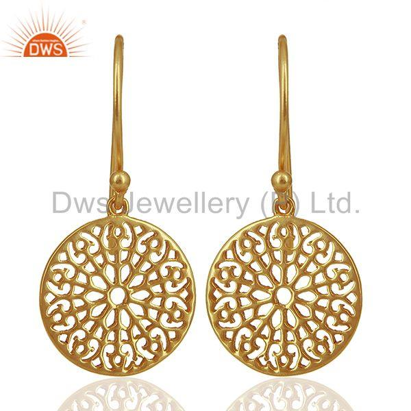 Gardens Inspired 925 Sterling Silver 18k Yellow Gold Plated Round Earring