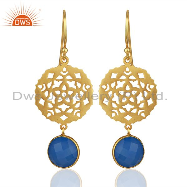 925 Silver Gold Plated Designer Blue Chalcedony Gemstone Drop Earrings