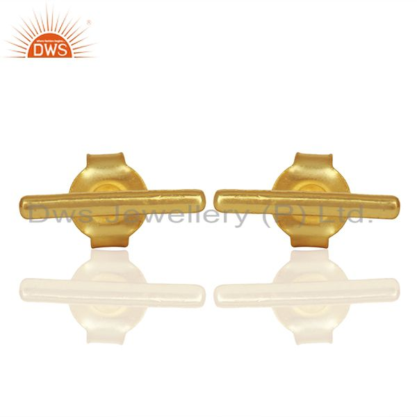 Solid Sterling Silver Gold Plated Bar Stud Earrings Manufacturers