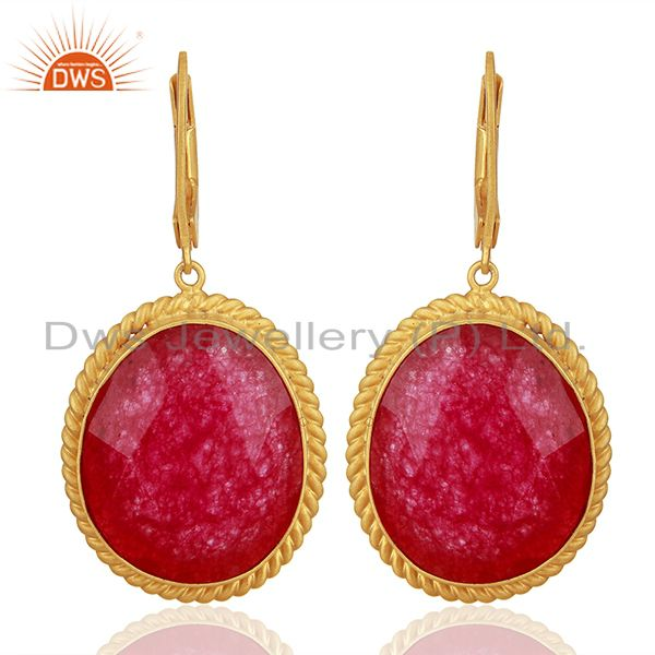Handcrafted 925 Silver Gold Plated Aventurine Red Gemstone Earrings