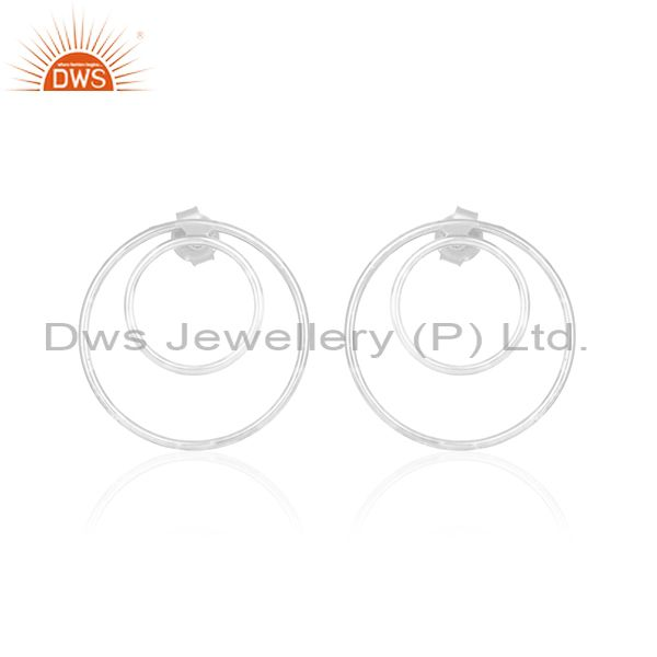 Plain 925 Sterling Fine Silver Double Circle Earring Custom Jewelry Manufacturer