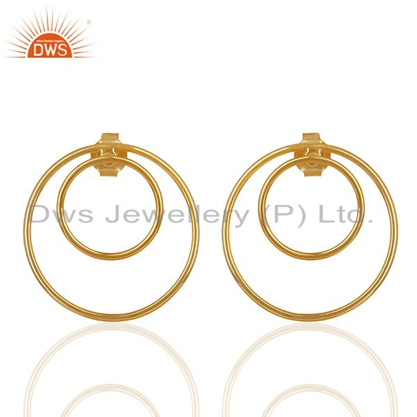 Gold Plated Sterling Silver Circle Design Earrings Manufacturers