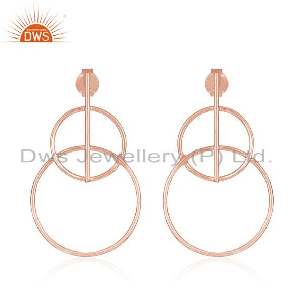Rose Gold Plated Peace Sign Design Plain Silver Earrings Jewelry