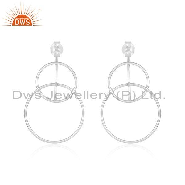Handmade Plain Fine Sterling Silver Circle Design Womens Earrings