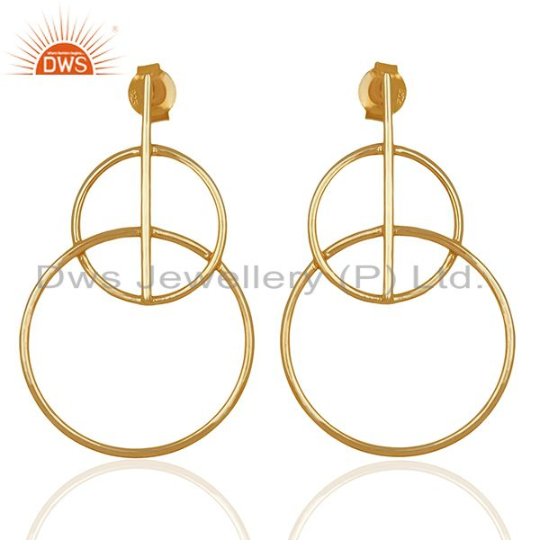 Handmade Plain 925 Silver Gold Plated Simple Earrings Supplier