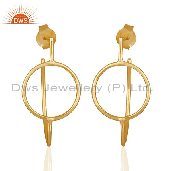 Handmade Gold Plated Plain Sterling Silver Dangle Earrings Wholesale