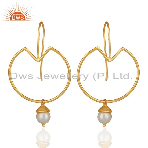 Natural Pearl Gold Plated Plain 925 Silver Simple Earrings Jewelry