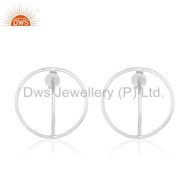 Handmade 925 Sterling Plain Fine Silver Circle Design Simple Girls Earring