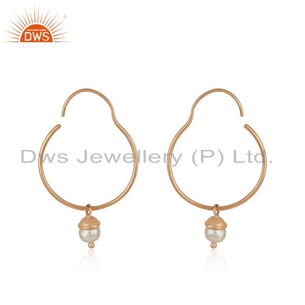 Rose Gold Plated 925 Silver Handmade Natural Pearl Girls Earrings Manufacturers