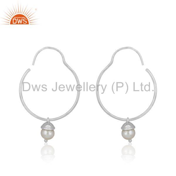 Simple 925 Sterling Plain Fine Silver Natural White Pearl Earring Wholesale