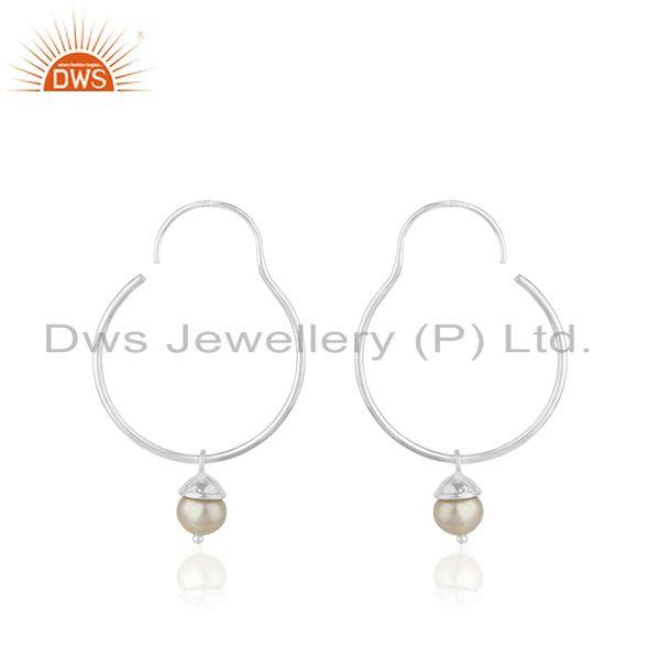 Handmade Fine Sterling Silver Natural Pearl Earrings for Girls Jewelry Wholesale