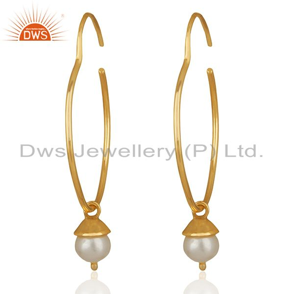 Handmade Gold Plated 925 Silver Pearl Gemstone Earrings Manufacturer