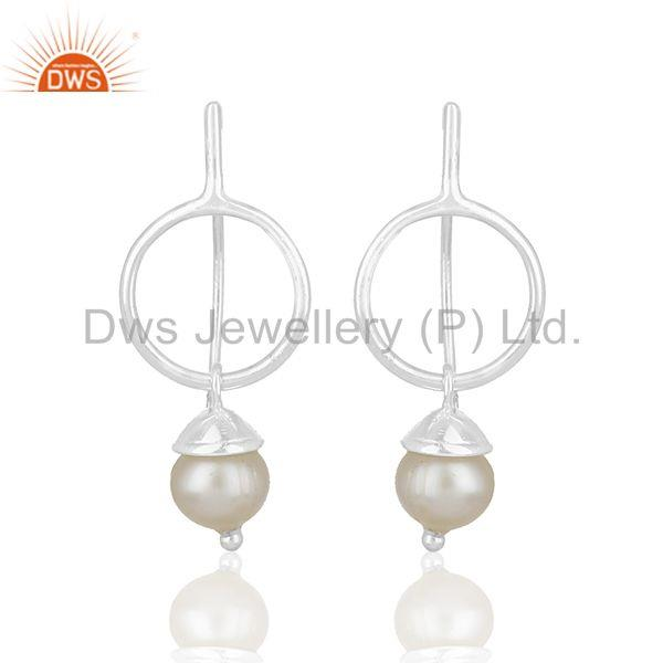Natural White Pearl Handmade 925 Sterling Plain Fine Silver Earring Manufacturer
