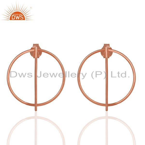 18k Rose Gold Plated Sterling Silver Simple Stud Earrings Manufacturer Jaipur