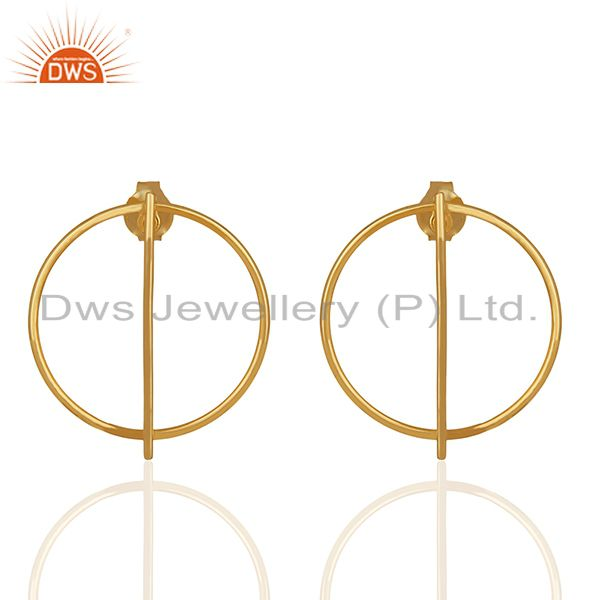 925 Sterling Plain Silver Gold Plated Girls Stud Earrings Jewelry