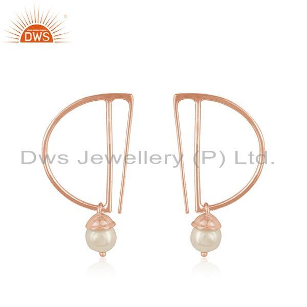 Designer Rose Gold Plated Silver Natural Pearl Gemstone Earrings Jewelry