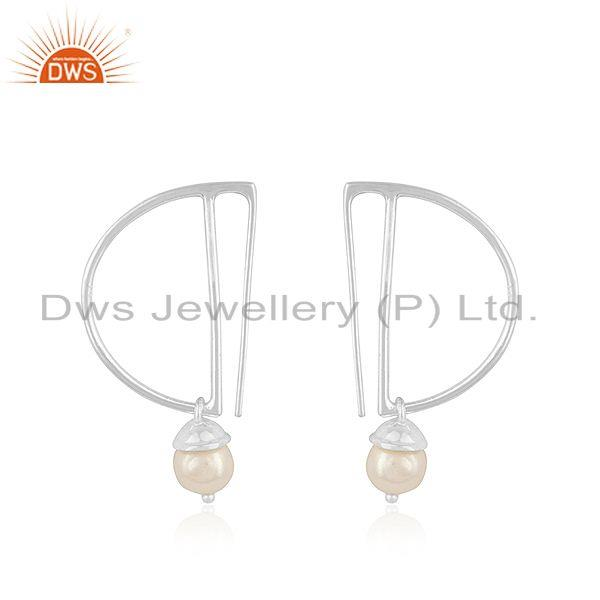 Sterling Fine Silver Designer Natural Pearl Earrings Jewelry Supplier