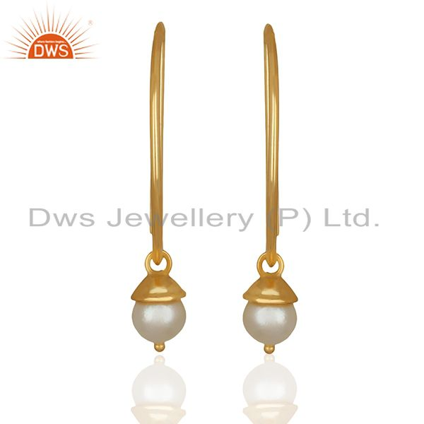 D Design 925 Silver Gold Plated Pearl Gemstone Earrings Wholesale