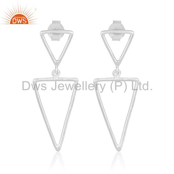 Triangle Shape 925 Sterling Plain Silver Designer Girls Earring Jewelry Supplier