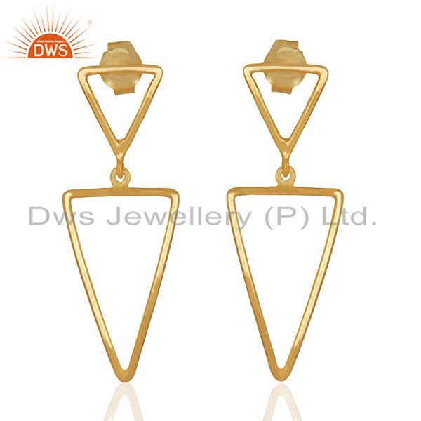 Multi Tirangle Design 925 Silver Gold Plated Dangle Earrings Jewelry