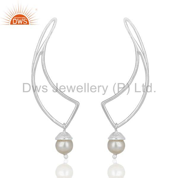 New Designer 925 Sterling Plain Silver Pearl Earring Manufacturers
