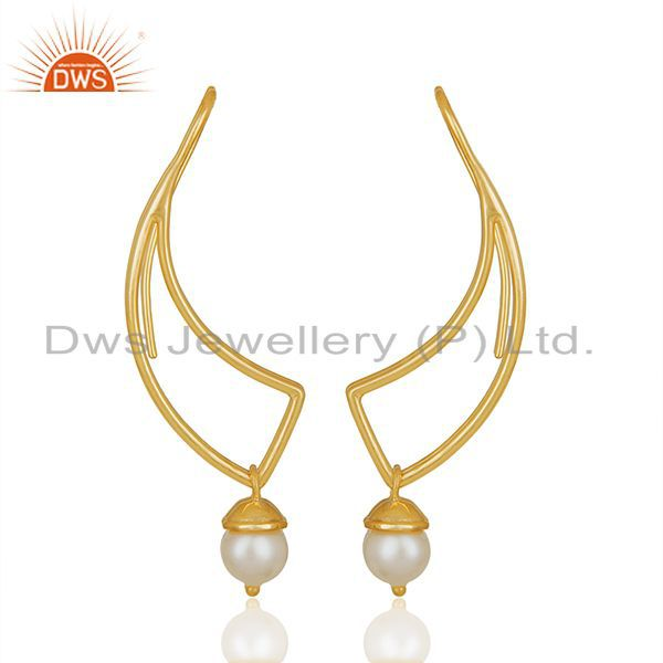 2017 New Designer 925 Silver Gold Plated Pearl Earrings Wholesale