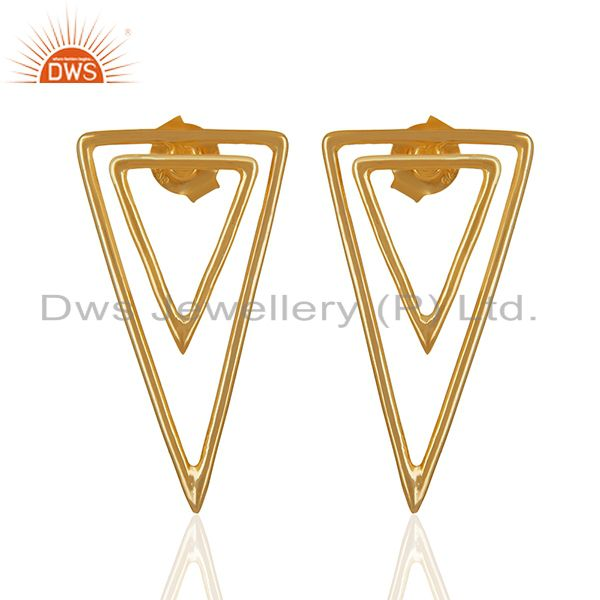 Tirangle Design Sterling Silver Gold Plated Stud Earrings Supplier