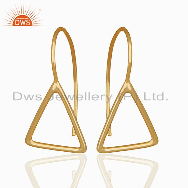 Solid Sterling Silver Gold Plated Tirangle Design Drop Earring Jewelry