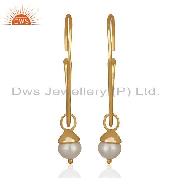 Fresh Watar Pearl 925 Silver Gold Plated Party Earrings Manufacturers