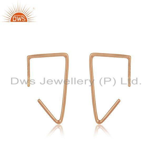 14k Rose Gold Plated 925 Sterling Silver Simple Wire Earrings Manufacturer India