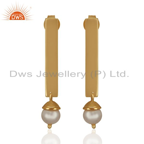 Simple Bar Design 925 Silver Gold Plated Pearl Earrings Manufacturers