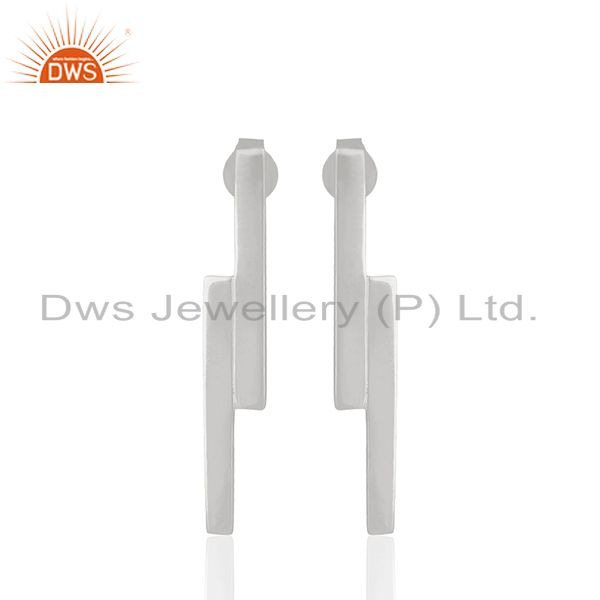 Handmade Sterling Silver Bar Design Girls Earrings Manufacturers