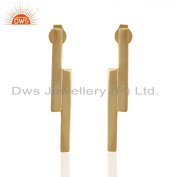 Solid 925 Silver Gold Plated Simple Bar Design Earrings Manufacturer