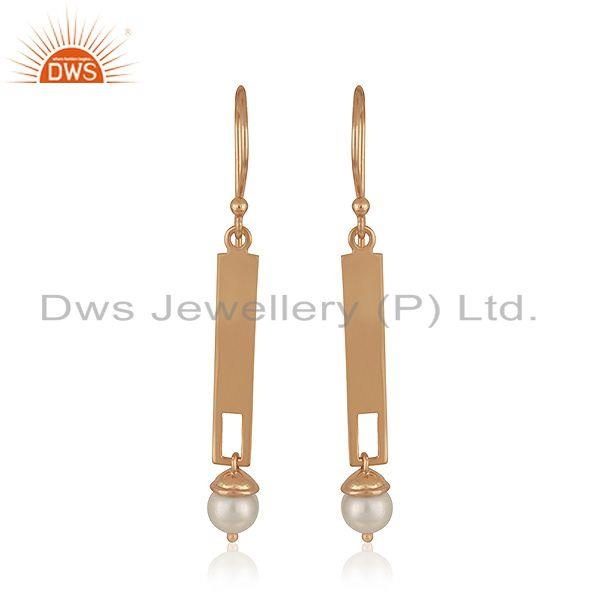 925 Silver Rose Gold Plated Bar Shape Natural Pearl Earrings Jewelry
