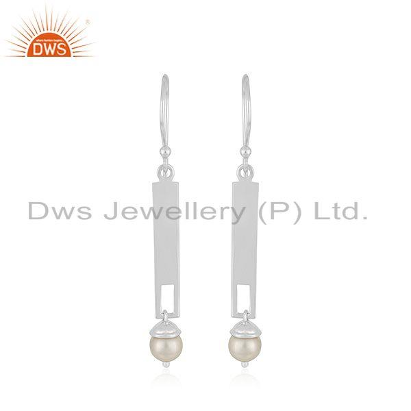 Indian Sterling Fine Silver Bar Natural Pearl Earrings Jewelry