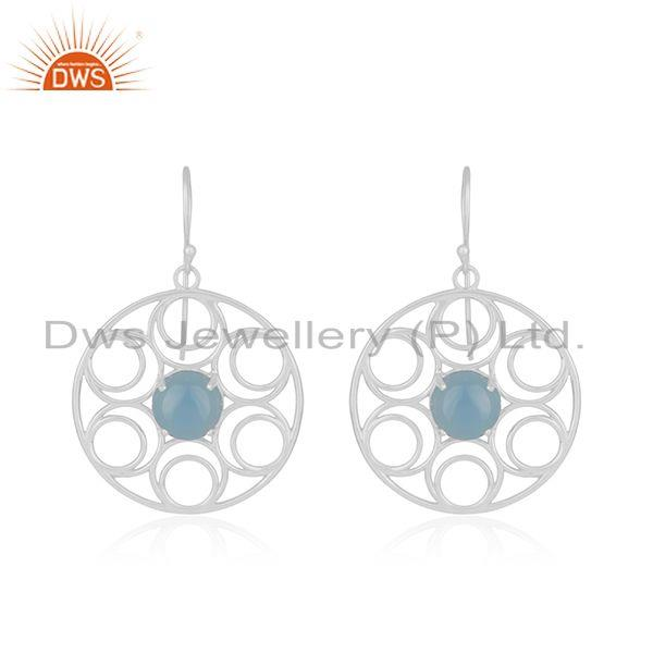Genuine fine sterling silver blue chalcedony gemstone girls earrings