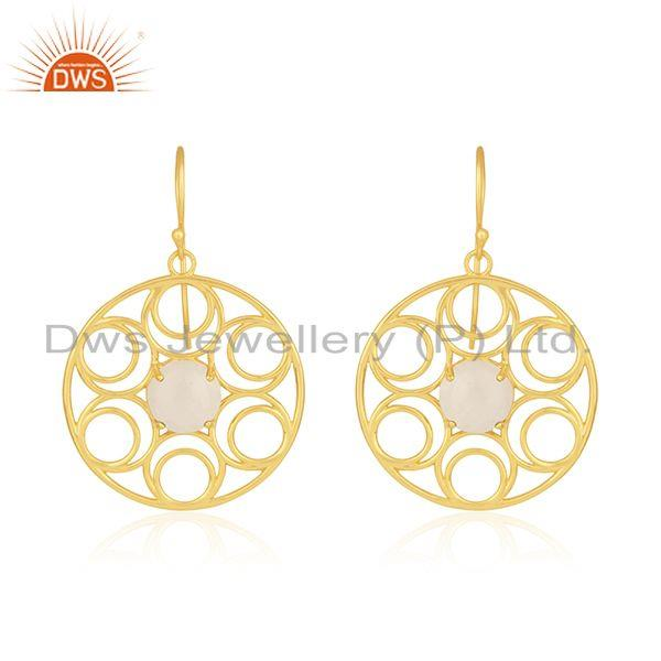 Natural rainbow moonstone gold plated 925 silver designer earrings