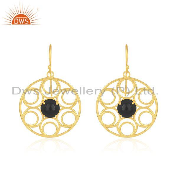 Prong setting black onyx gemstone gold plated sterling silver earrings