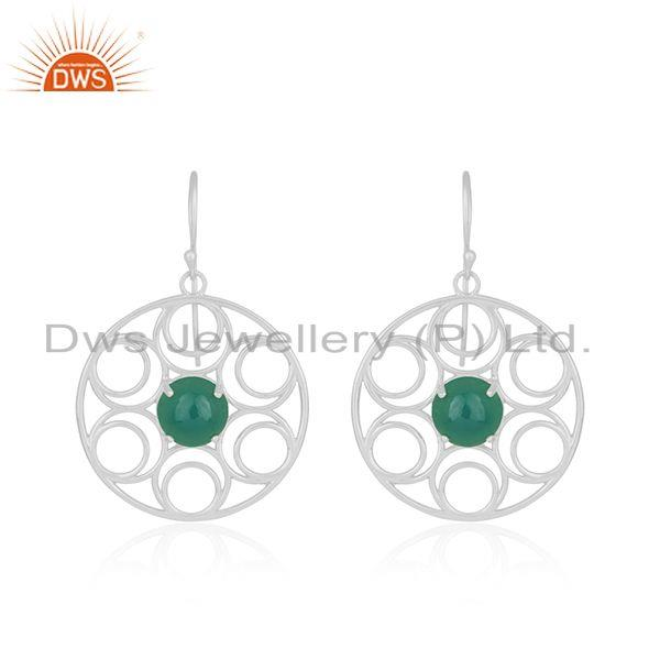 Fine sterling silver green onyx gemstone party wear beautiful earrings